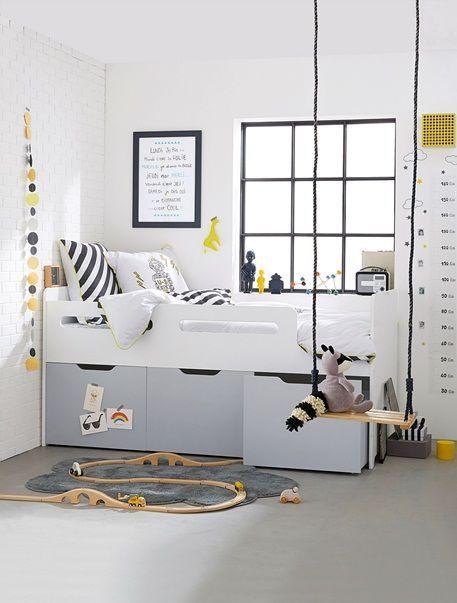 combine lit enfant avec rangements ligne passe passe blanc gris vertbaudet