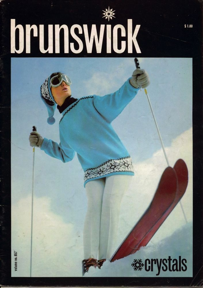 Brunswick 657 Crystals Knitting Patterns Ski Sweater Cap Coat Hood 1968 #Brunswick #KnittingPatterns