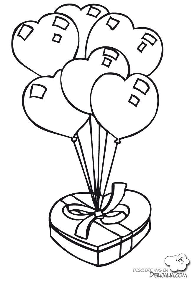 Regalo globos de corazones - Dibujalia - Dibujos para colorear ...