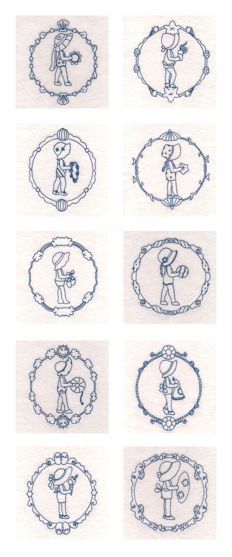 Decorative Summertime Sunbonnets Embroidery Machine Design Details