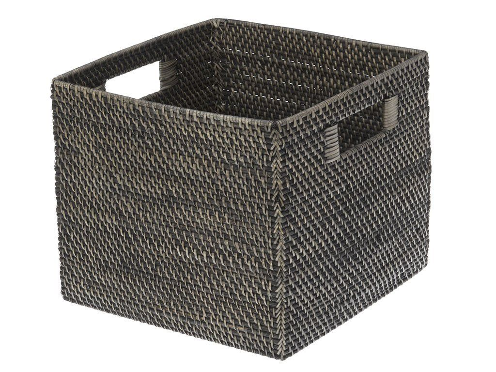 13 X 13 X 11 Kouboo Square Rattan Storage Basket Black Antique Storage Baskets Rattan Oversized Baskets