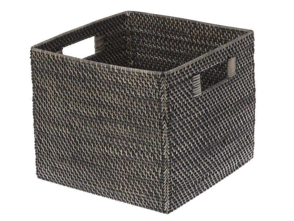 13 X 13 X 11 Kouboo Square Rattan Storage Basket Black Antique Storage Baskets Rattan Oversized Baskets
