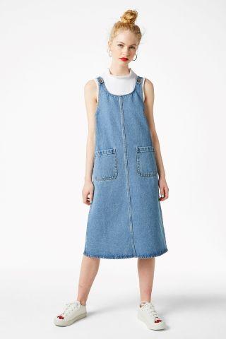 f20cd6f5c4ad2 Long denim pinafore dress - Blue - Monki | Clothes I Want in 2019 ...