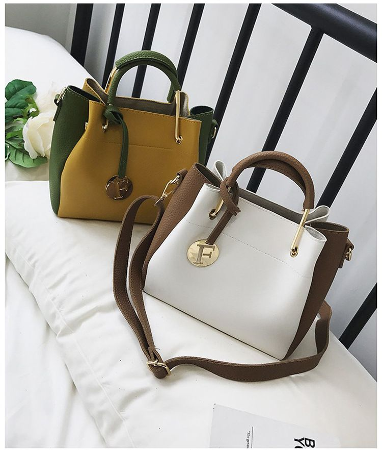 Korean version PUfashion bag (Yellow with green)NHTC1034-Yellow with green