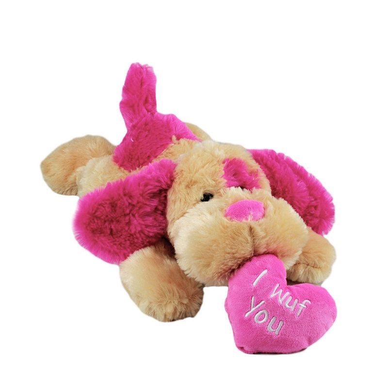 Title: Valentines Smoochies Floppy Dog Red by Korimco Size: Measures 18 inch / 46cm long Price: AUS$ 22.95 Brand : Korimco  Lots more items like this available at: www.stuffedwithplushtoys.com 100 Day Returns |Fast Trackable Shipping|Amazing Service