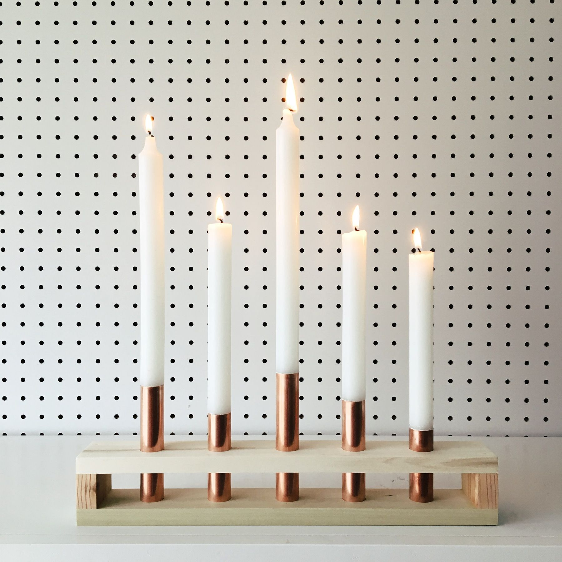 Wood And Copper Candle Holder Wedding Danish Mid Century Modern Scandinavian Diy Candle Holders Copper Candle Christmas Candle Holders