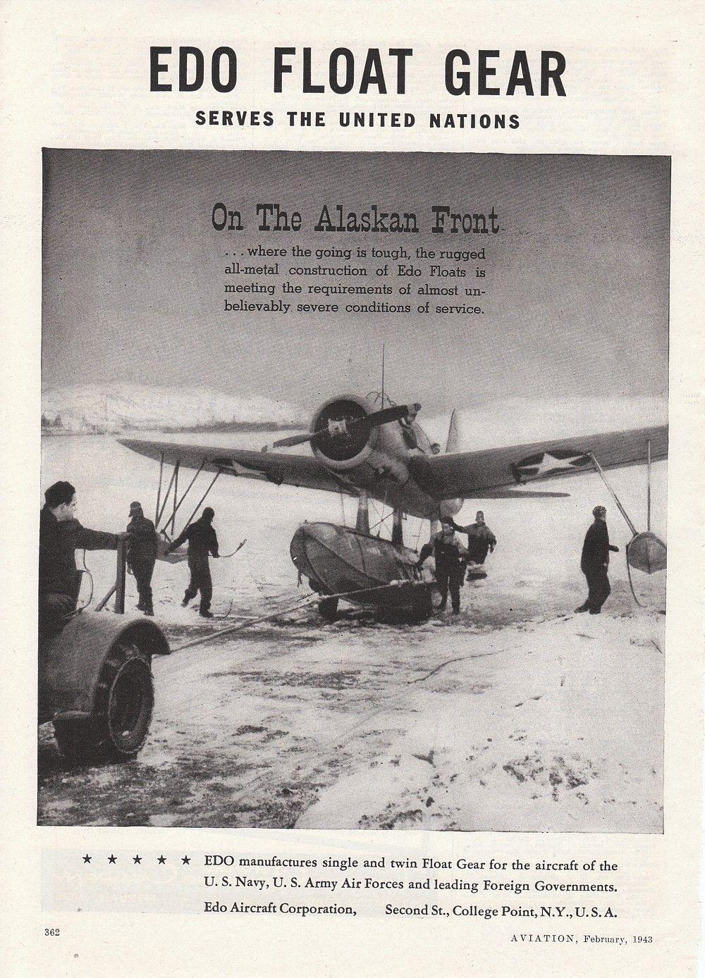1943 Edo Float Gear magazine ad. US Navy plane on the Alaskan Front. #WWII #aviation #plane #alaska #navy Source: 1943 Aviation magazine.