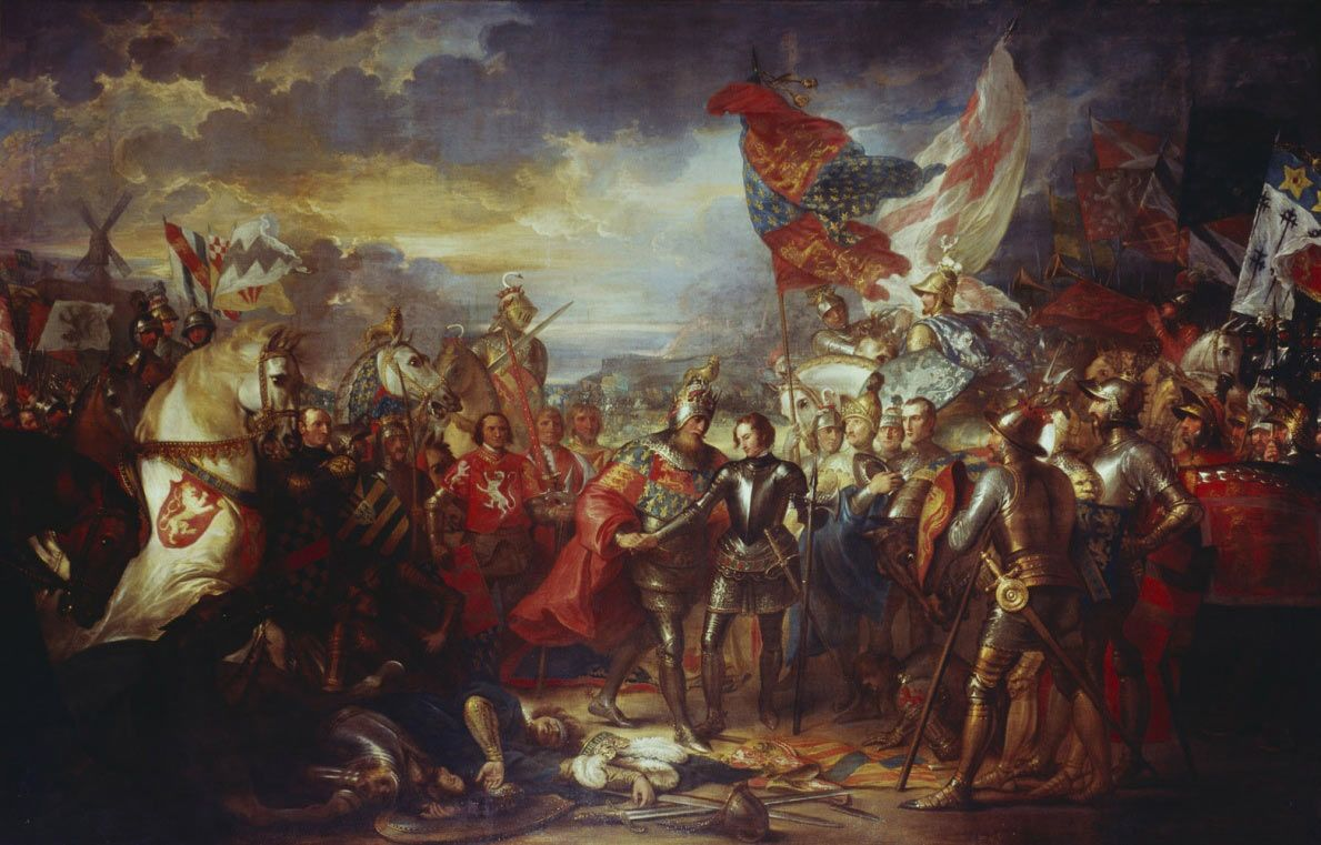 king edward iii greeting the black prince after the battle of  king edward iii greeting the black prince after the battle of crecy on 1346 in the hundred years war picture by benjamin west