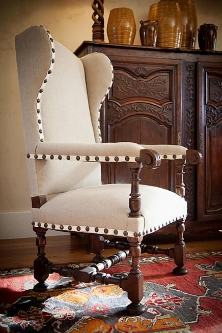 Love the upholstery detail on this lovely chair - Francie Hargrove Interior Design