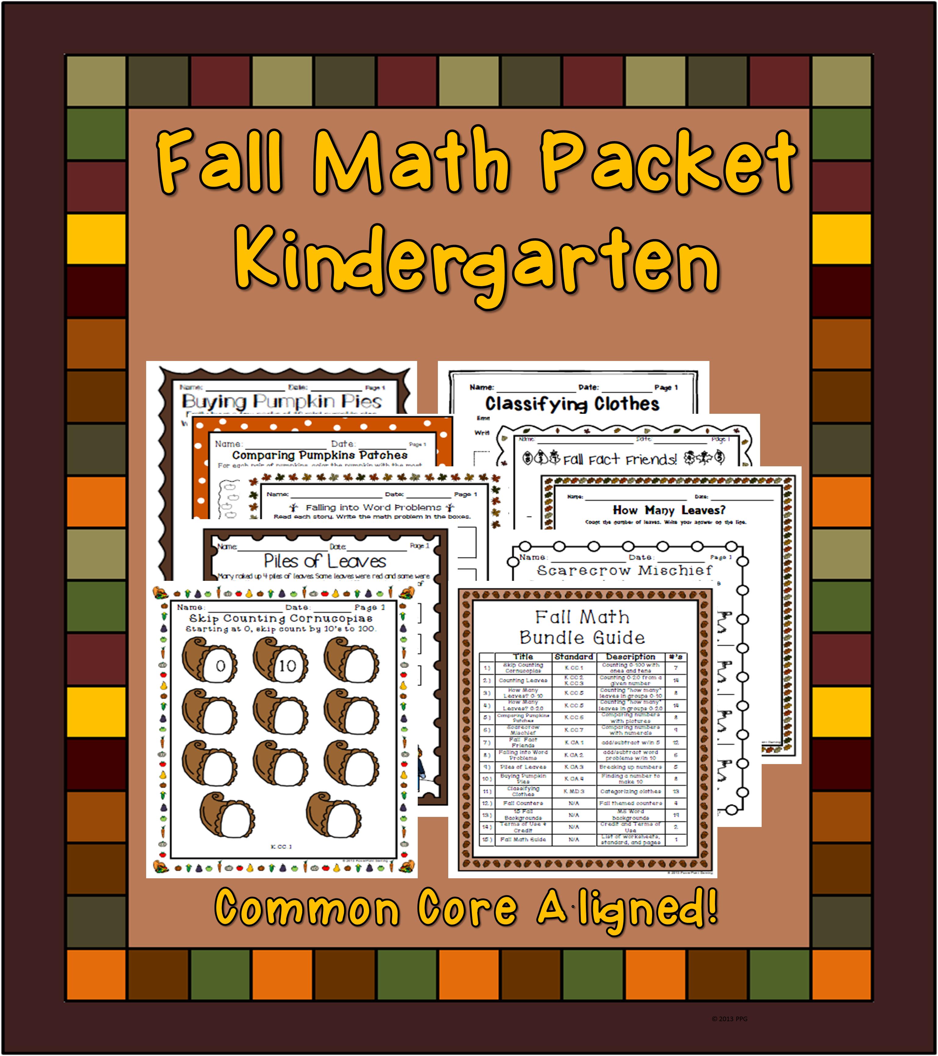 Kindergarten Fall Math Pack