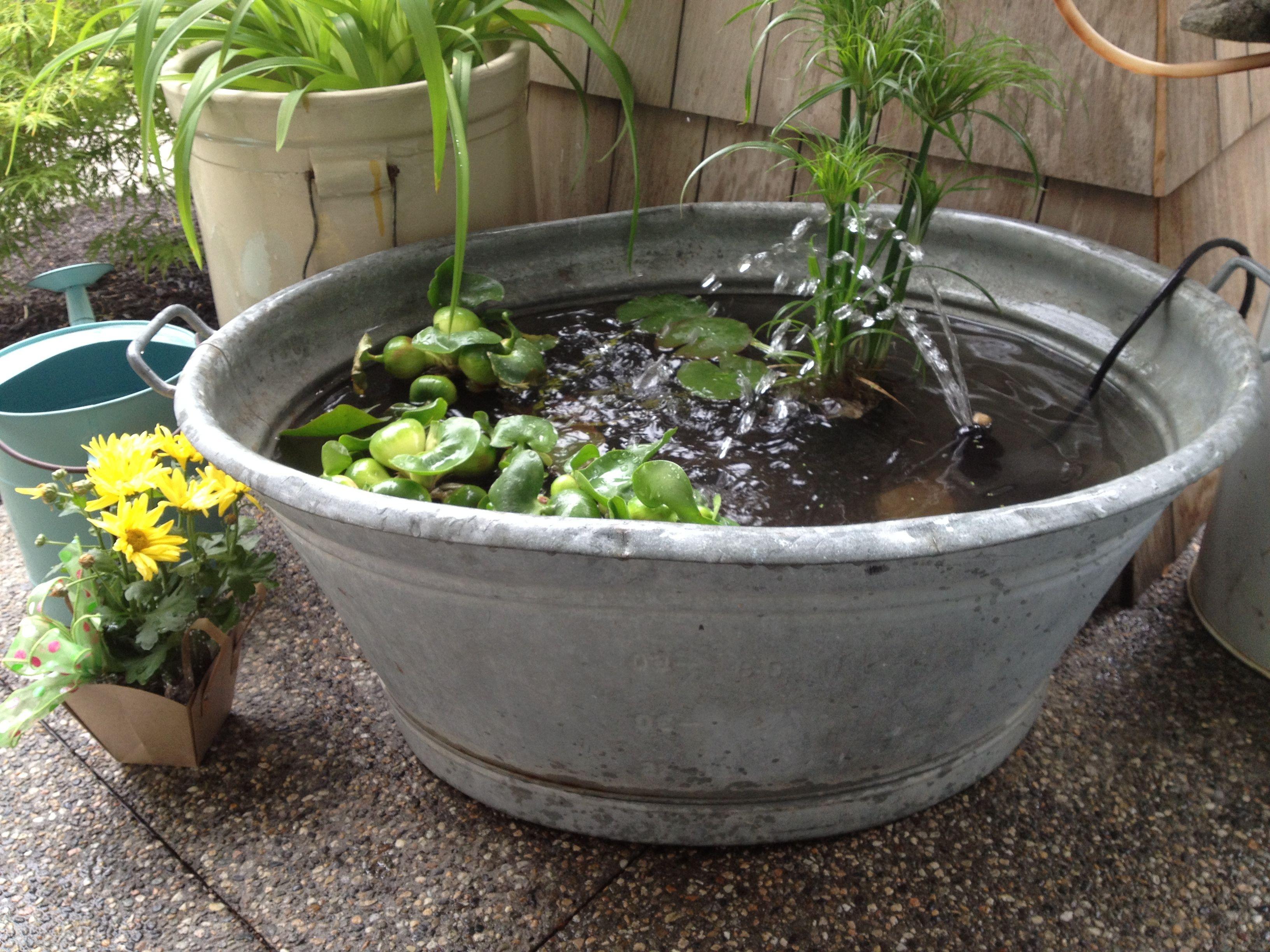 Galvanized tub ponds Patio pond ideas