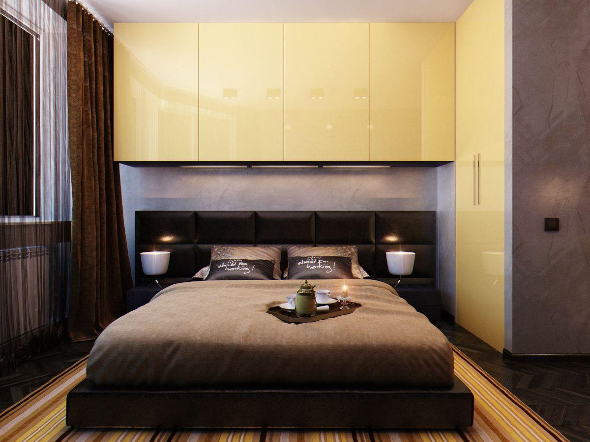 спальня-гостиная в одной комнате 18 кв.м фото с кроватью ...