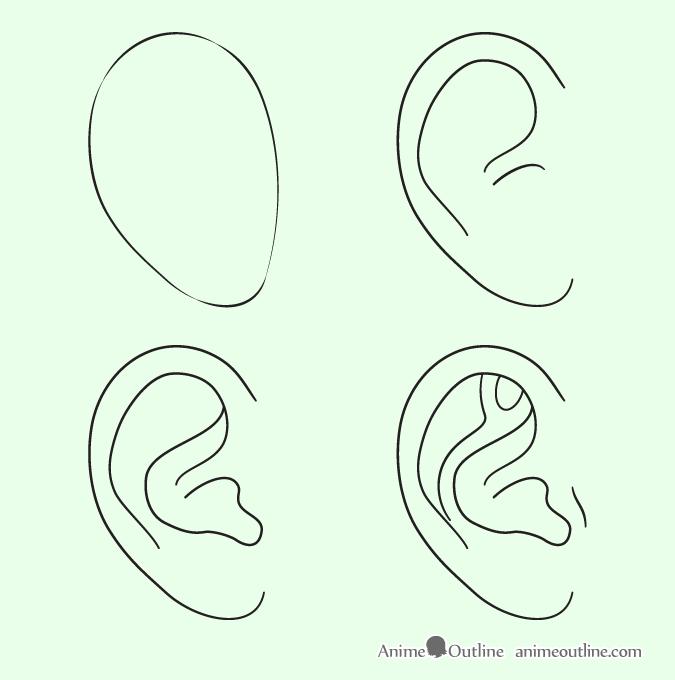 Ear Drawing Step By Step Tutoriais De Desenho Orelha Tutoriais