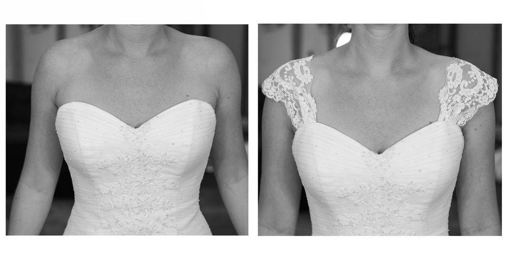 Image result for adding straps to strapless wedding dress