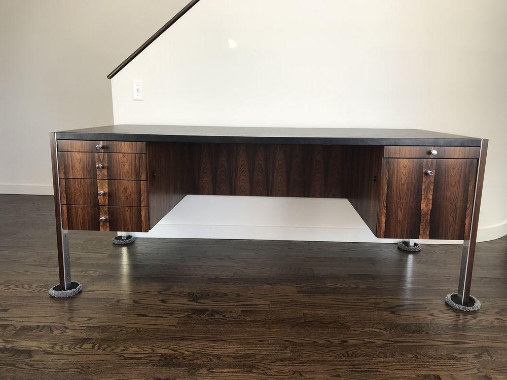 Mid Century Modern Rosewood Desk Designed By Herman Miller For
