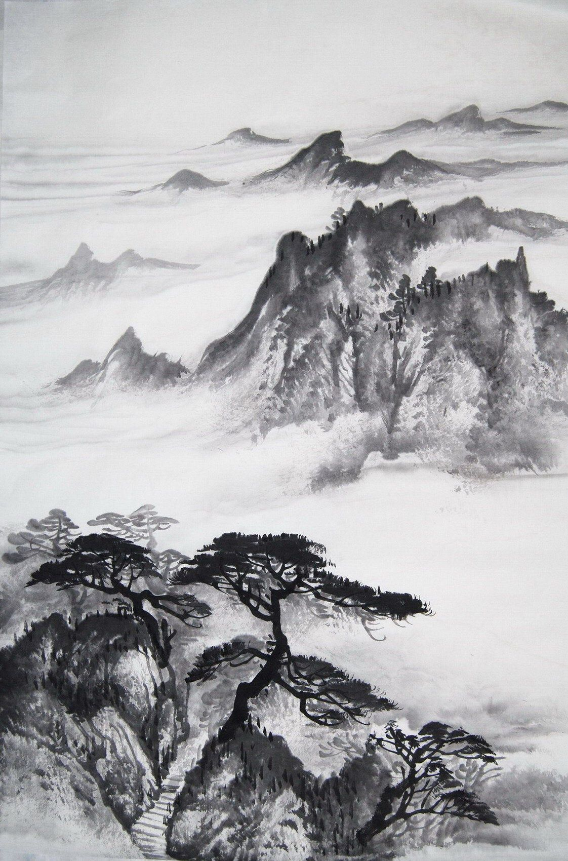 Hand Painted Original Chinese Watercolor Landscape Painting Brush