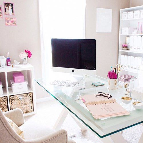 Light and bright home office for her. This seems like the