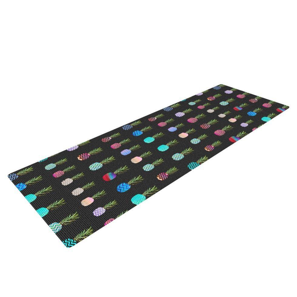 """Monika Strigel """"Pineapple People Black"""" Black Multicolor Yoga Mat"""