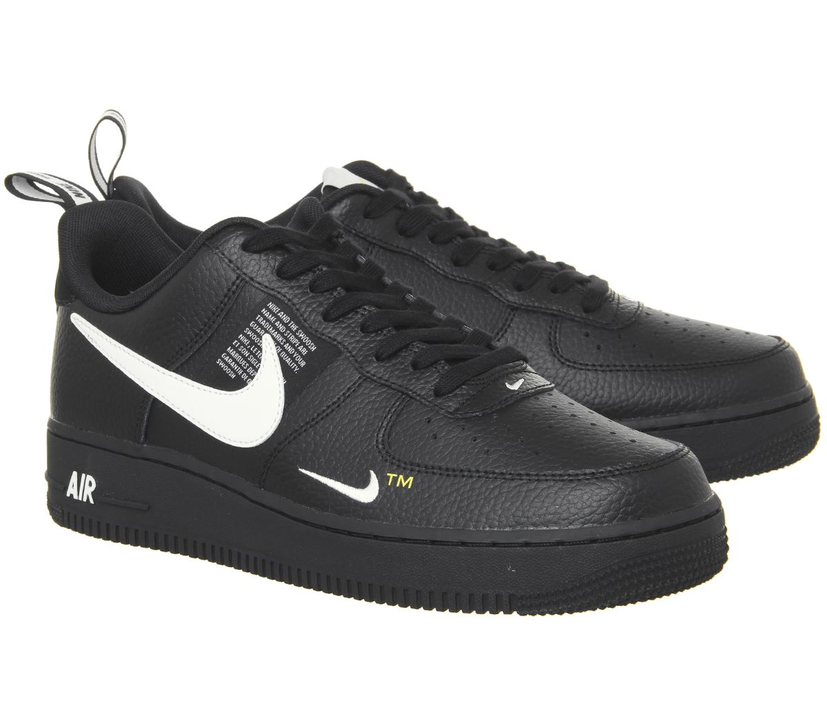 on sale 1689f 5a3ef Nike Air Force 1 Utility Trainers Black White Black Tour Yellow - His  trainers