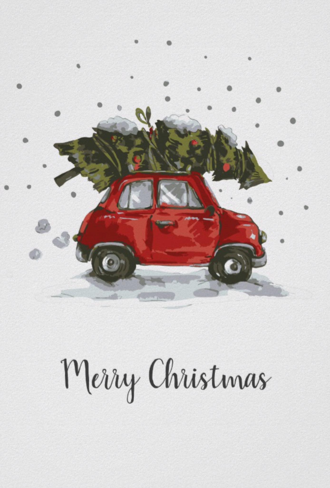 Retro Car Christmas Tree Poster Christmas by JunkyDotCom - Cute funny little red vintage car with a Christmas pine tree on the roof driving homethrough the snow
