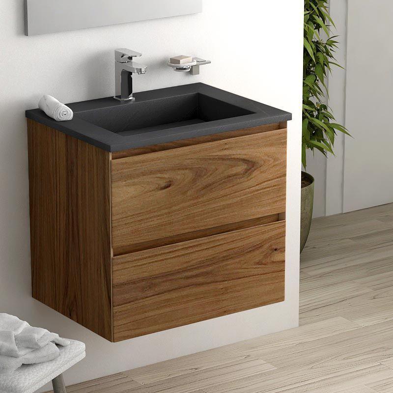 Cordoue, Meuble salle de bain bois noyer 61 cm, vasque pierre 2