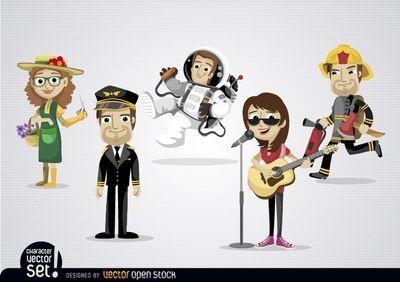 Set of 5 Cartoon characters with different professions: gardener, pilot, astronaut, musician, and fireman. Use it in any promo about professionals or one specific profession. High quality JPG included. Under Commons 4.0. Attribution License.