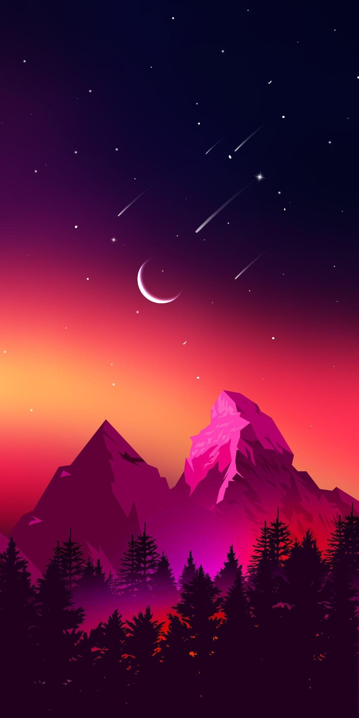 Iphone Wallpapers Paysages 43 Illustration De Paysage Paysage Magnifique Dessin Fond D Ecran Colore