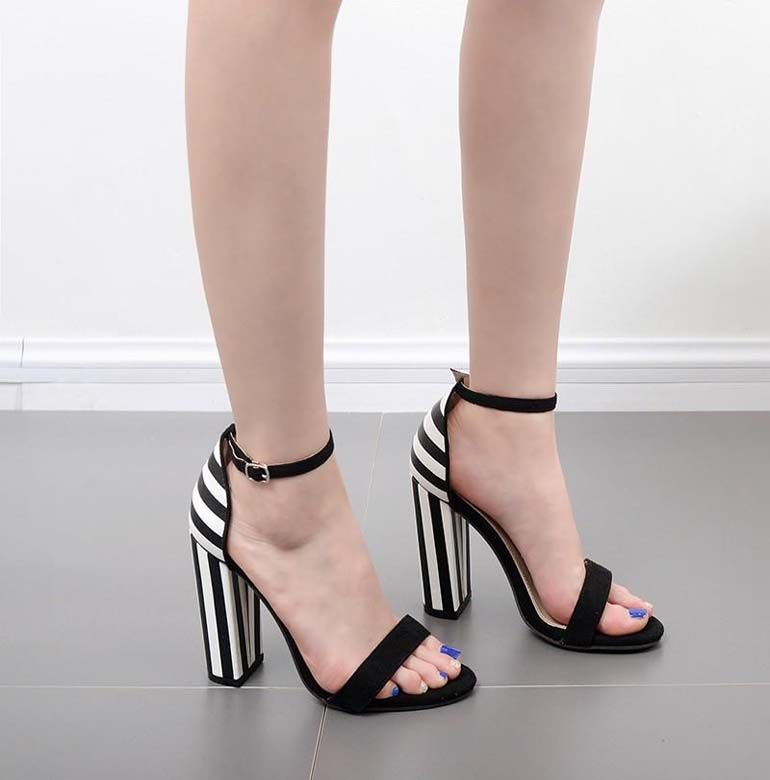 3feff77f5d8 Woman fashion Concise zebra stripe shoes ladies Buckle High heel sandals