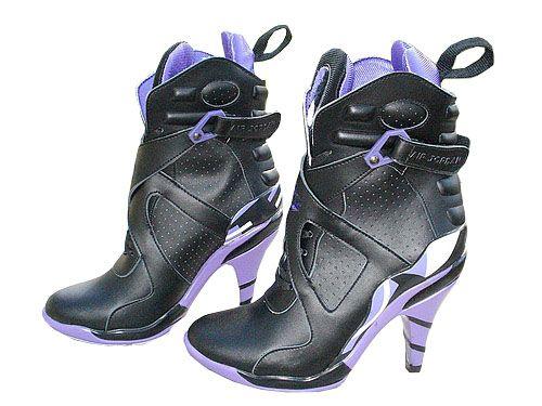 ed29779d553 Jordan 8 Nike High Heels Black Purple | kewt shoes | Nike high heels ...