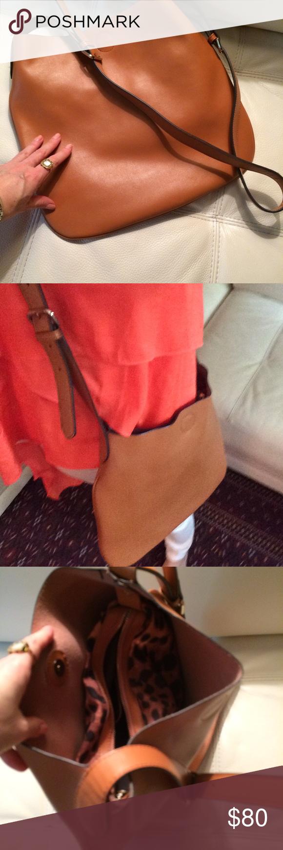 Sale‼️‼️‼️Tan leather cross body bag Tan leather cross body bag. Real leather.  Measurement: 14X 14 inches Bags Crossbody Bags