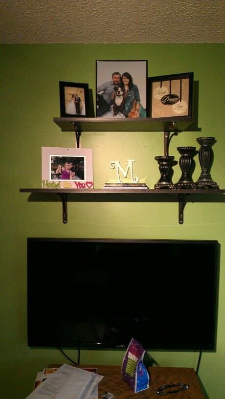Cute ideas for shelving above tv..Lowe\'s $30 | for the home ...