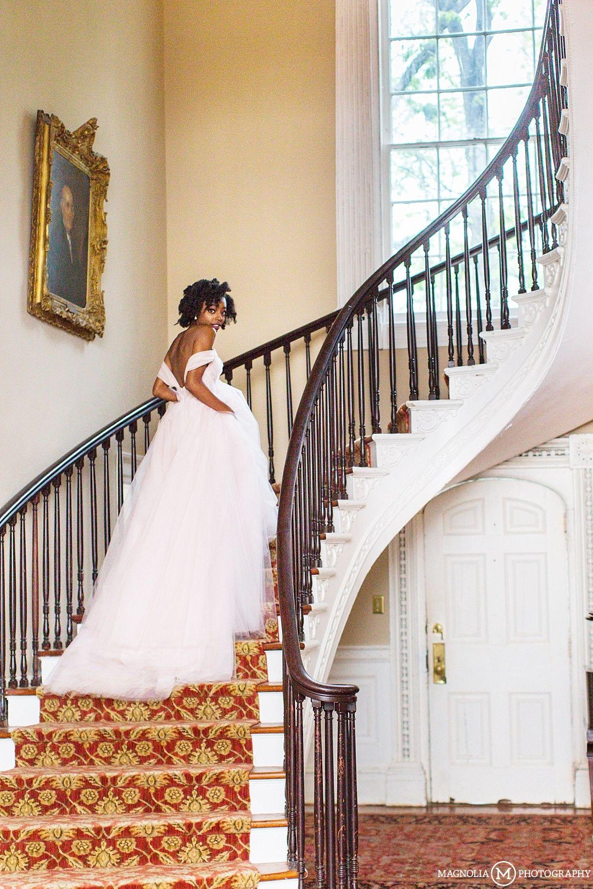Bridal Staircase Portrait Magnolia Wedding Charleston Sc
