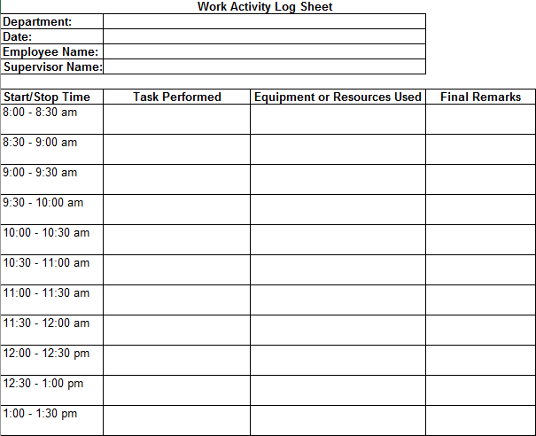 Daily Work Log Templates 10 Free Printable Word Excel Pdf Formats Samples Forms Examples Templates Printable Free Free Printables Words