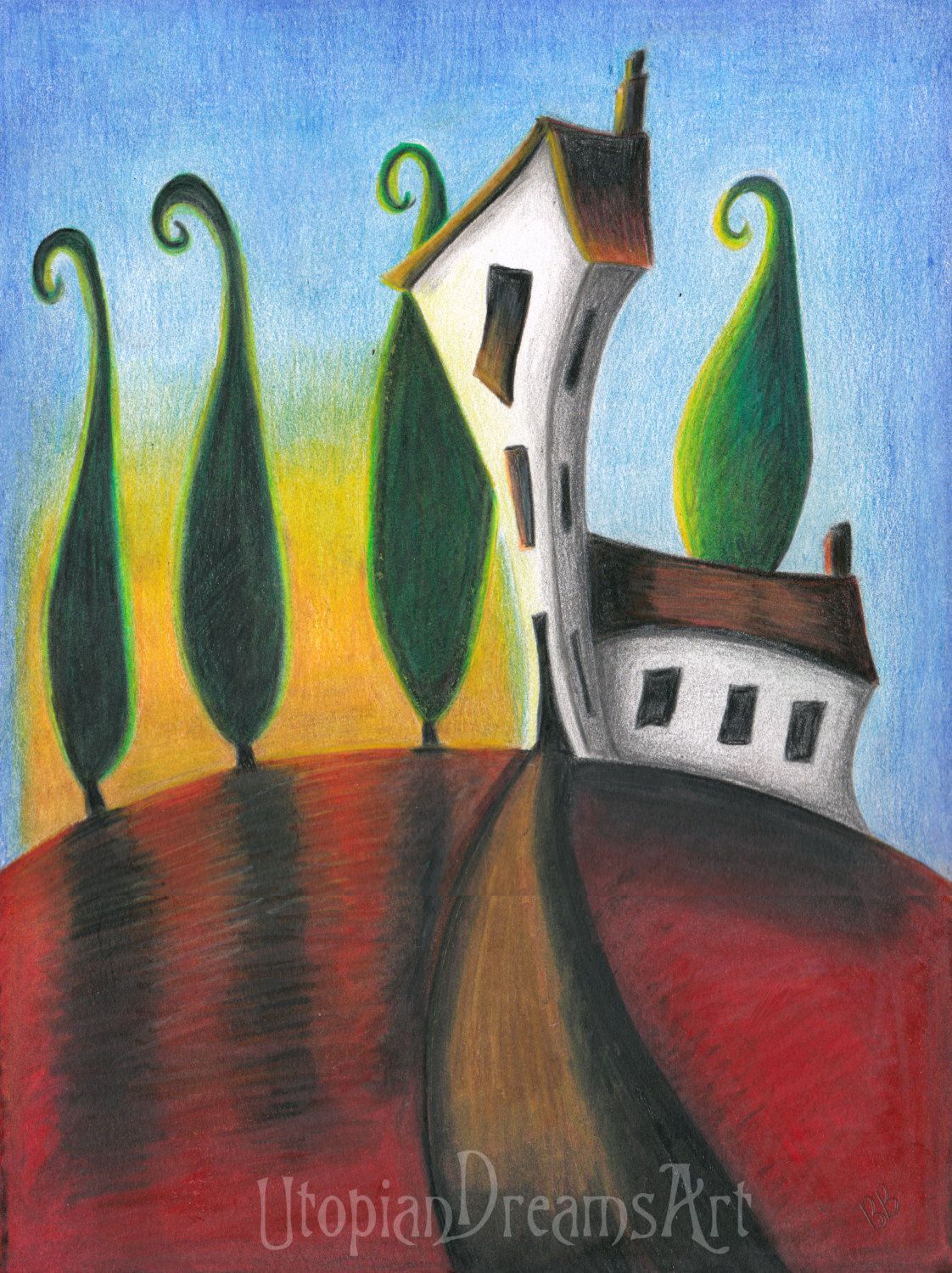 Whimsical art contemporary landscape quirky house drawing coloured pencil original art