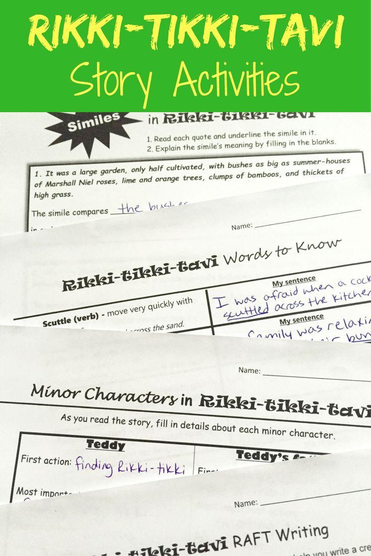 Rikki Tikki Tavi Activity Pack Increase Reading Comprehension And Teach Literary Teaching Literary Elements Figurative Language Narrative Writing Activities [ 1102 x 735 Pixel ]