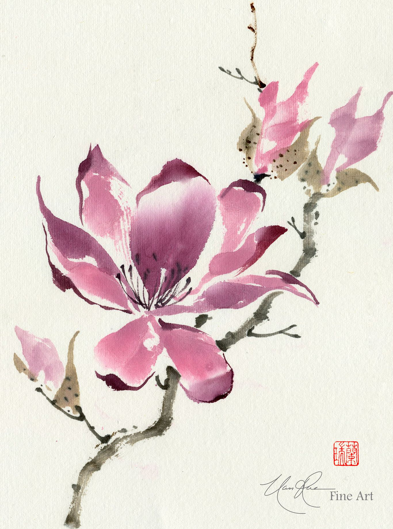 Chinese Magnolia The Unfolding Original Brush Painting By