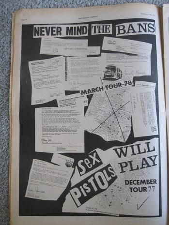 SEX PISTOLS 'Never Mind the Bans' full page ad.