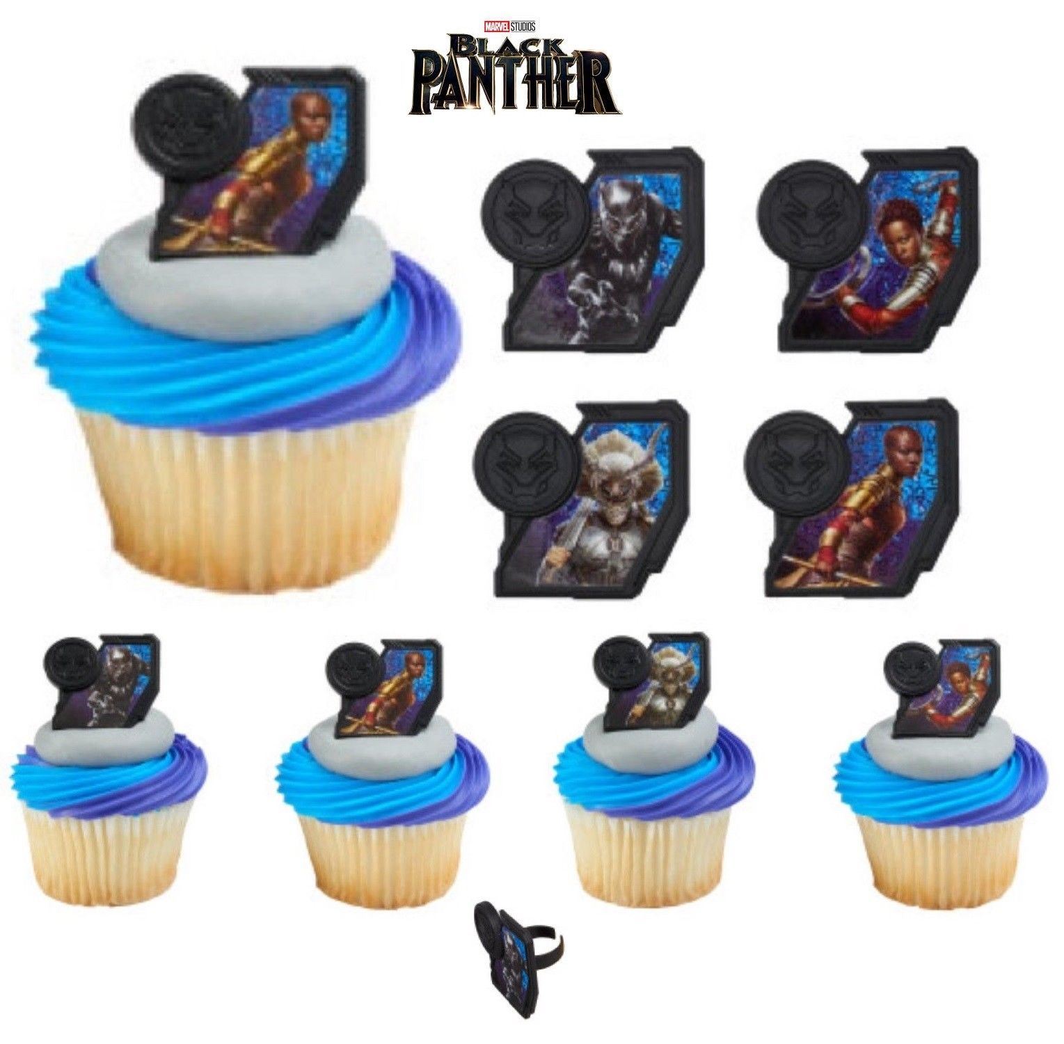 $7.99 - Black Panther Cupcake Toppers Rings Birthday Party Supplies ...