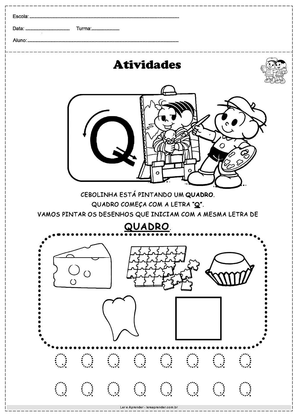 Atividades Com Alfabeto Turma Da Monica Letra Q In 2020