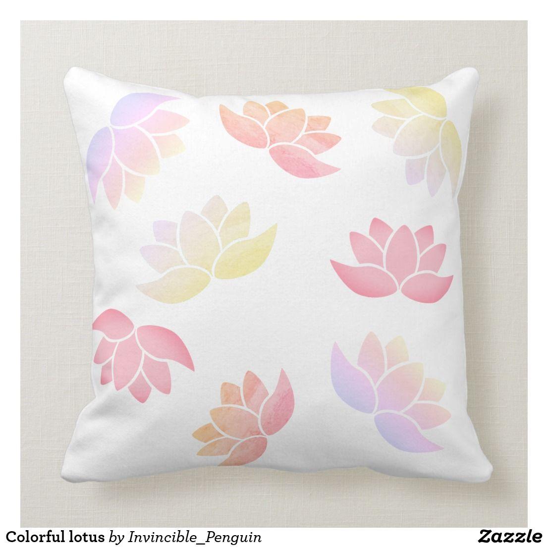 Colorful lotus throw pillow throw pillows