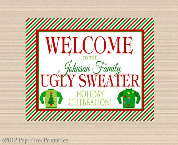Ugly Sweater Digital Welcome Sign, Christmas Door Hanger, Holiday Printable on Etsy, $6.00