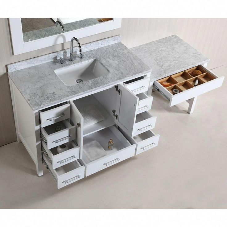 Design Element London 48 in W x 22 in D Vanity in White with Marble Vanity Top Design  Design Element London 48 in W x 22 in D Vanity in White with Marble Vanity Top Desi...