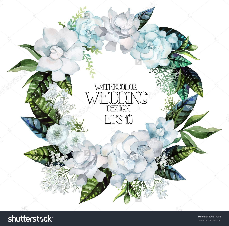 Watercolor Gardenia And Gypsophila Wreath Vector Wedding Design 296317955 Shutterstock