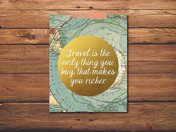 Travel Quote Art Decor, Wanderlust Print Map, Home Decor Map Print ...