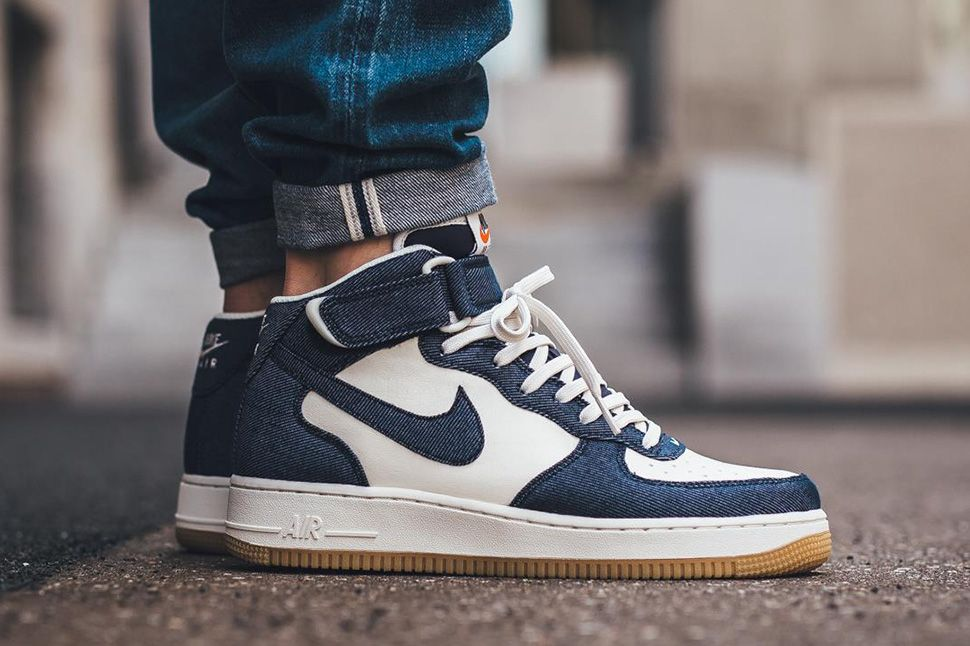 Nike Air Tela Force 1 Mid 07 Tela Air Cuero Obsidian  Blanco 2e40fe