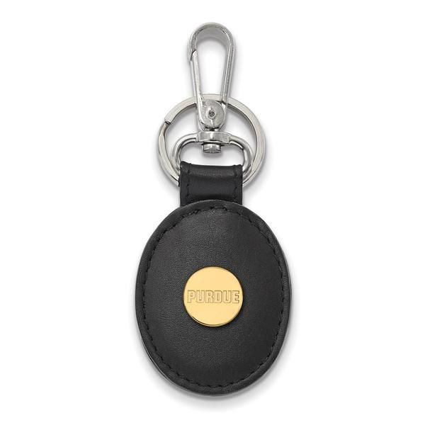 Black Leather Oval Key Chain PU Sterling Silver w// 14K Yellow Gold-Plated LogoArt Official Licensed Collegiate Purdue University