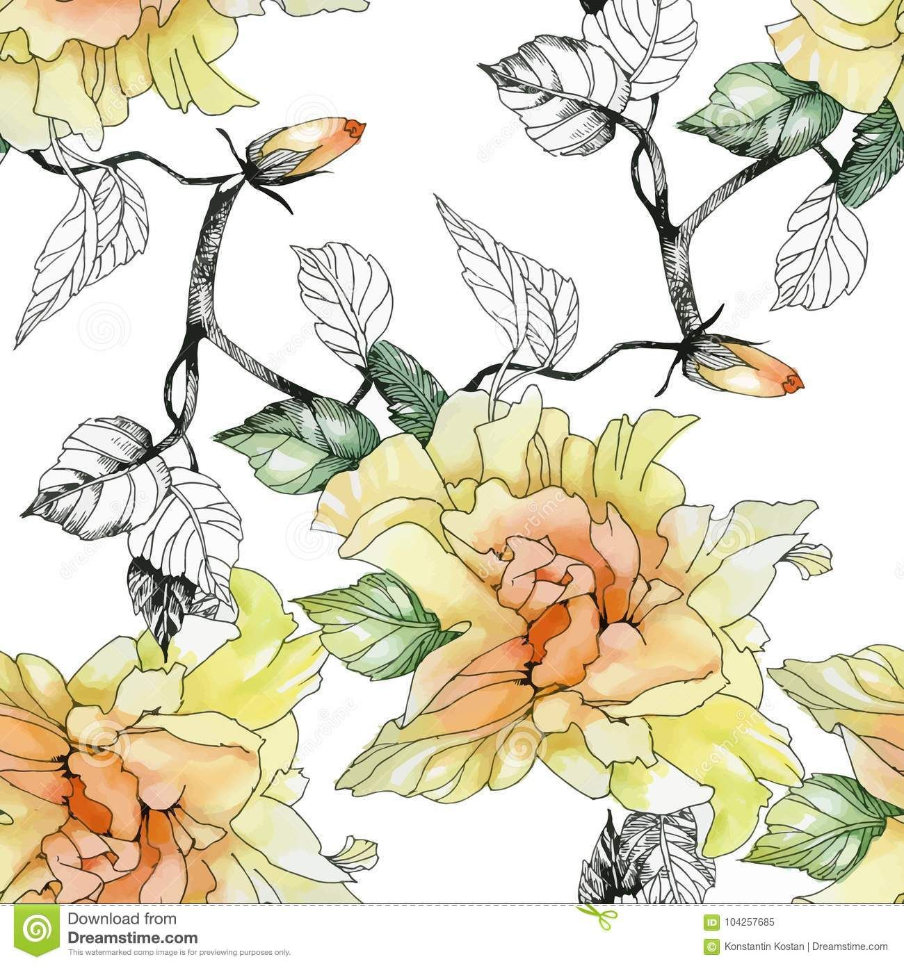 Watercolor Seamless Pattern With Colorful Flowers And Leaves On