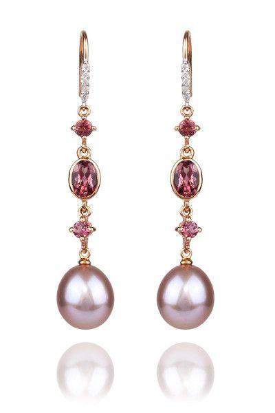 14k Rose Gold Dangle Shepard Hook Earrings Featuring 9 10mm Pink Fresh Water Pearls Tourmaline 07ctw Diamonds