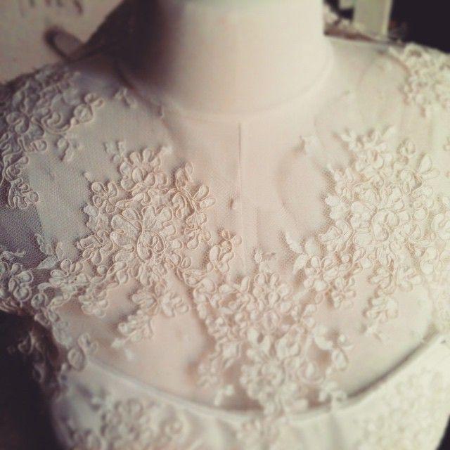 Details of my Alençon #lace wedding dress #tbt #handmade #couture
