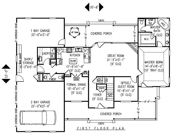 interesting garage layout. I like how it walks into a laundry/mud room and i love the kitchen's proximity to dining/living/outdoors.